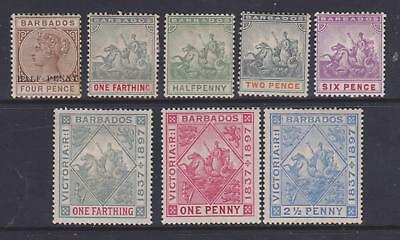 Barbados 1892/97 Selection Mounted Mint
