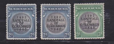 BAHAMAS 1942 2s AND 3s VALUES SG 172/a/173 MNH