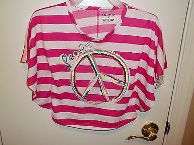 NWT Healthtex Girls Pink/White Striped Peace Circle Top-4T