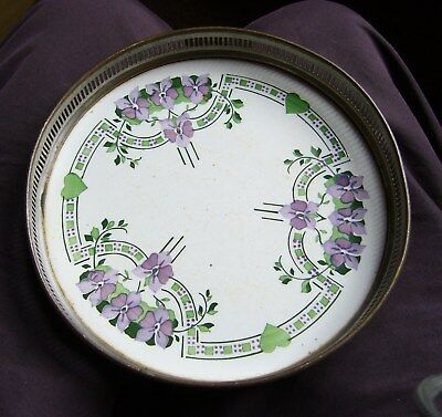 WMF, Art Nouveau Hand-Painted Ceramic Dish with Galleried Surround. Superb.