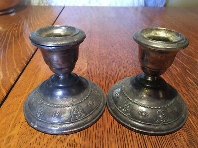 Rare Vintage Pair Of Wallace Sterling Silver Rose Point Candle Holders