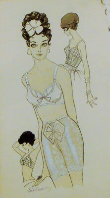 Original, Vintage Working Fashion Illustration. Ink on Board. Artist Signed