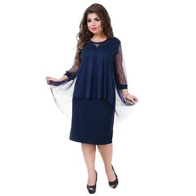 Plus Size Women Dress Straight Patchwork Mesh Dress Large Size Sheer Party Dress