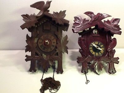 2 Vintage Single Door Swiss Cuckoo Clocks,rustic!Bird/Leaf design spares/repair