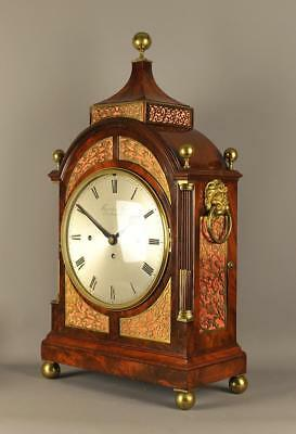 SUPERB MAHOGANY 8 BELL BRACKET TABLE CLOCK - Thwaites and Reed , London