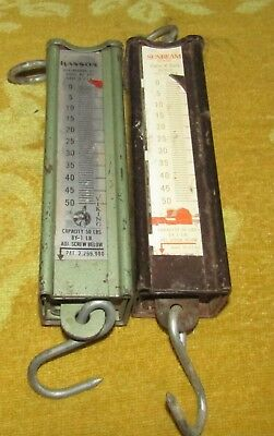 2 Vintage Hanging Scales 50Lbs Capacity, Hanson And Sunbeam