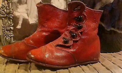 Victorian Vintage Pair Child Brown Leather Antique Baby Side Button Top Shoes