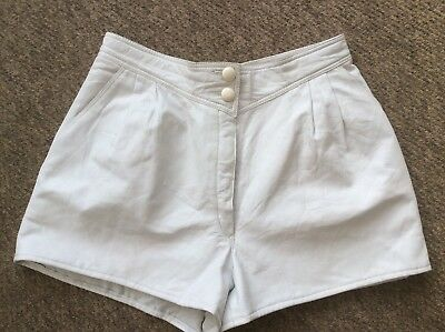 """Vintage 1980's White Leather, High Waist Shorts Lined W 32"""" 12 / 14"""