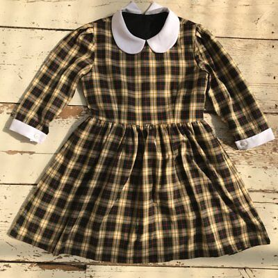 Vintage 90s yellow plaid mini dress white peter pan collar mod dolly 60s cute 10