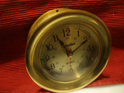 "Vintage Versailles Solid Brass Ships Nautical Clock - Working 4.50"" Dia."