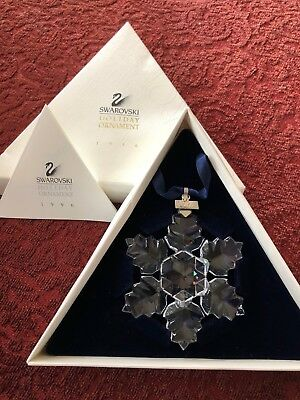 1996 Swarovski Snowflake STAR Annual Christmas ORNAMENT With Box