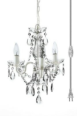 Hanging Lamp Crystal Chandelier Mini Plug In Home Ceiling Fixtures Decor Room