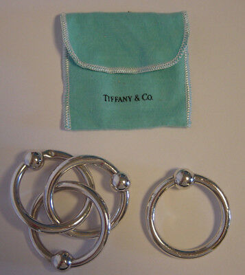 Tiffany & Co Lot Sterling Silver Baby Teething Ring Rattle Triple Single 925 Vtg