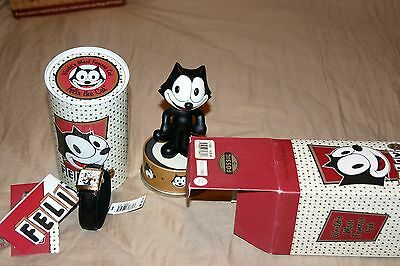 New Felix The Cat With Bobble Head Fossil Watch Limited Edition Excellent !