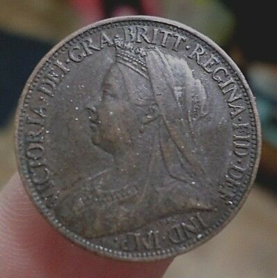 1900 Great Britain UNC Coin, Farthing, Queen Victoria, GLOBAL FREE SHIPPING