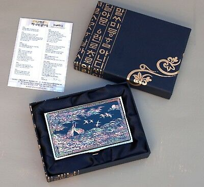 Mother of Pearl Lacquerware Silver Mirror Business Card Case Presentation Box