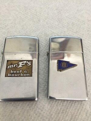 Vintage Slim Zippo Lighters Lot Of 2