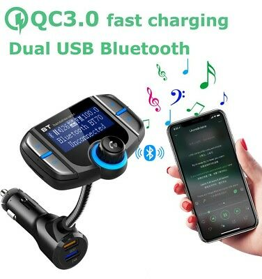 Bluetooth Wireless LED Display FM Transmitter USB QC3.0 QUICK CHARGER for Phones