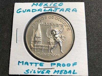 Mexico 1 oz Silver Medal Comm. October festival Guadalajara FREE SHIPPING IN USA