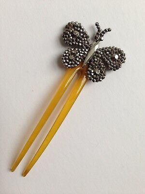 Antique Georgian / Victorian Butterfly Cut Steel Hair Comb Decoration, Accessory
