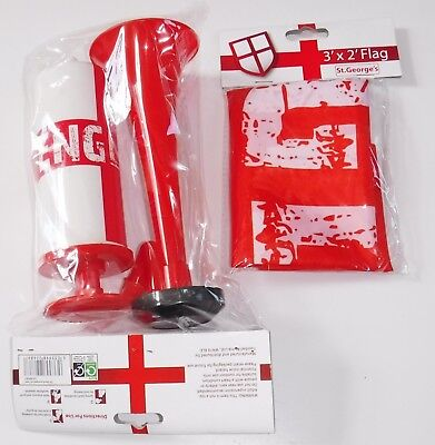 England St Georges Supporters Air Horn & 3' Flag World Cup Euros Garden Party