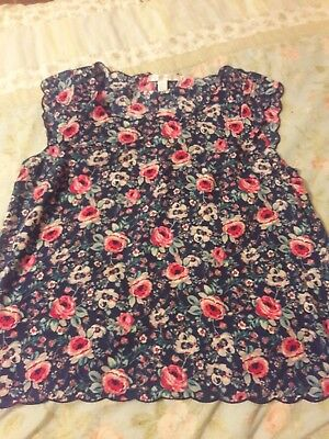 Lauren conrad  sleeveless career floral blouse size L womens
