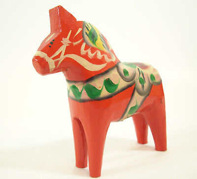 Orange Hand Painted Dala Horse Sweden Folk Art Akta Dalahemslojd Colorful Estate