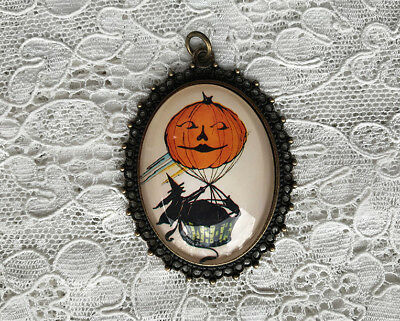 Witch in JOL Hot Air Balloon ~Glass Dome PENDANT X Large Oval VINTAGE HALLOWEEN