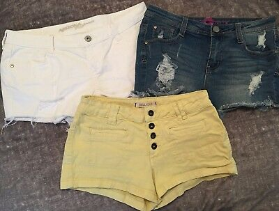 3 Piece Lot Denim Shorts~ Size:9 ~Bullhead, Wishful Park, Arizona Jeans