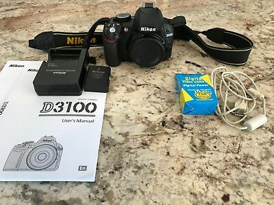 Nikon D3100 DSLR Camera - Body Only +2 batteries,cable,manual,charger free ship