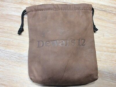 DEWAR'S 12 Scotch Whiskey Leather Drawstring Pouch Bag Bar Liquor Advertising