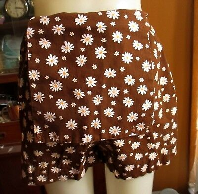 "26W 26"" True Vtg 70s HIGH WAIST BROWN SUNFLOWR PRINT MOD SCOOTER Skort Shorts"