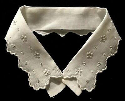 """Antique Broderie Anglaise White Lace Collar, inside the neck 12 """", Lace 1 7/8"""" w"""