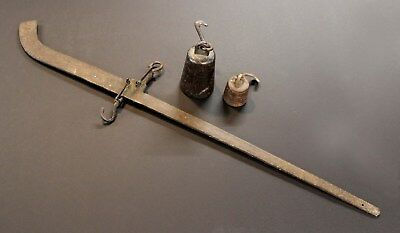 Antique Steelyard Balance,200lb Capacity with weights, checked for accuracy