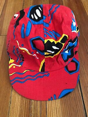 Vintage Wendy's Fast Food Snap Back Black Abstract Cap Hat COLLECTIBLE