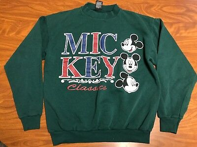 Mens Vintage Mickey Mouse Classic Dark Green Paper Thin Sweatshirt Size Small