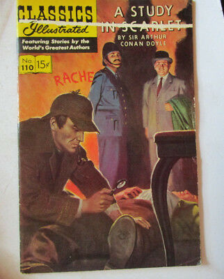 Classics Illustrated A Study In Scarlet Sir Arthur Conan Doyle August 1953 #110