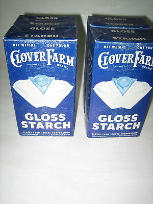 4 Vtg Full Boxes Of Clover Farm Corp.cleveland Ohio Gloss Starch Country Store