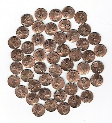2. Lot Of 50 Lincoln Cents With Luster & Stamped With Masonic Symbols