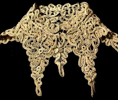 "Early Vintage Unusual Shape Fansy Lace Collar 14 1/2"" inside the neck,"