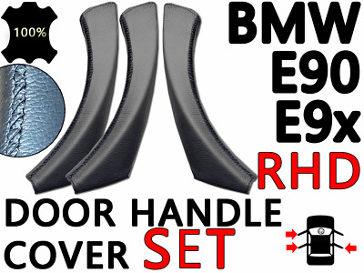 Door Handle Cover Set BMW E90 E91 (RHD) - 3x Black Leather Handle Cover