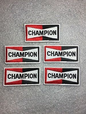Lot of 5 - Champion Spark Plug Patches NOS New Old Stock Vintage Original Patch