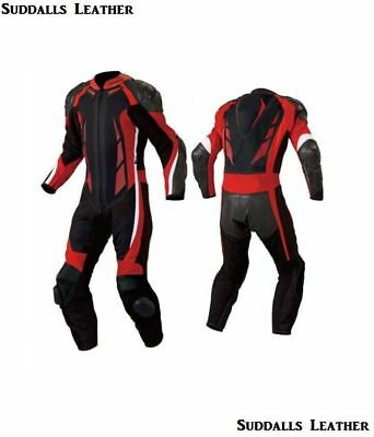 Black Red Motorcycle Leather Suit 1 PC/2 PC CE Approved Protections High Quality