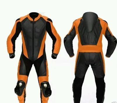 Orange Motorcycle Leather Suit 1 PC/2 PC CE Approved Protections High Quality