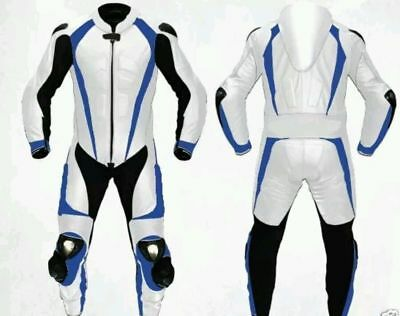 White Motorcycle Leather Suit 1 PC/2 PC CE Approved Protections High Quality