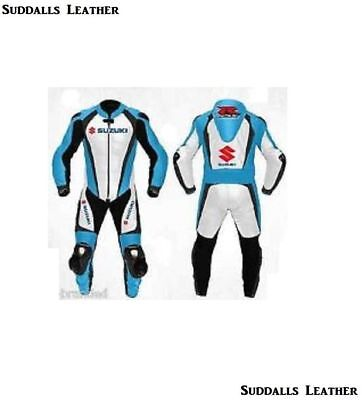 Suzuki Motorcycle Leather Suit 1 PC/2 PC CE Approved Protections High Quality