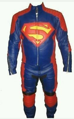 Superman Motorcycle Leather Suit 1 PC/2 PC CE Approved Protections High Quality
