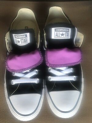 Women's CONVERSE ALL STAR Blk/Purple Canvas Low Top Sneakers Shoes Size 7