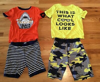 Boy's Summer Pajama Sets, Gap, Size8/10, Snack Attack/What Cool Looks Like, 4