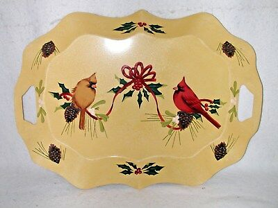 "Lenox Everyday Winter Greetings Toleware Metal Tray Cardinals 18"" x 14"" EUC"